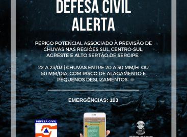 Defesa Civil Estadual alerta para risco de alagamento e pequenos deslizamentos