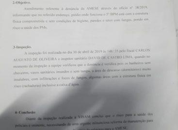 Amese recebe laudo da defesa civil sobre quartéis da PM em Aracaju