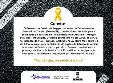 Movimento Maio Amarelo será aberto nesta quinta-feira, 2, em Sergipe