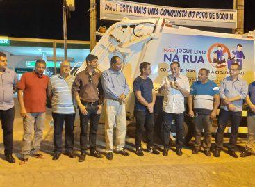 André visita obras de ciclovia e entrega caminhão de lixo em Boquim