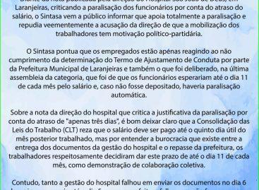 Nota de repúdio contra a direção do hospital São João de Deus em Laranjeiras