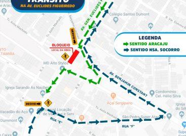 Obra na avenida Euclides Figueiredo: via terá ponto de bloqueio a partir de 5 de agosto