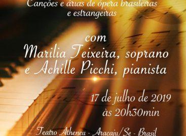 Recital de Canto e Piano acontece na quarta, 17 de julho, no Teatro Atheneu