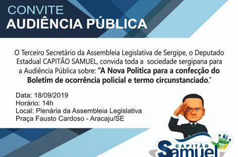 Audiência Pública irá discutir confecção do BO de ocorrência policial e termo circunstanciado