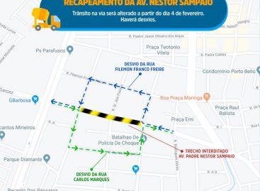 Obra de recapeamento na Nestor Sampaio altera trânsito na região a partir da terça, 4