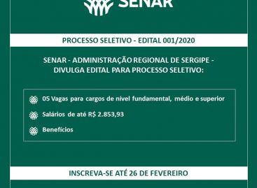 Senar Sergipe abre processo seletivo para diversas áreas