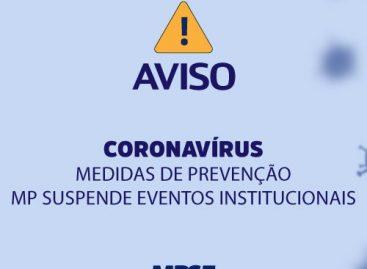 Coronavírus – MP suspende eventos institucionais temporariamente