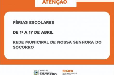 Escolas da rede municipal de Socorro entram em férias de 01 a 17 de abril