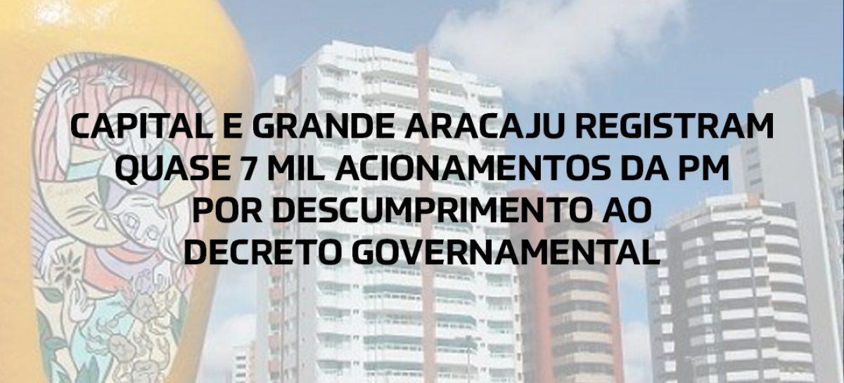 Capital e Grande Aracaju registram quase 7 mil acionamentos da PM por descumprimento ao Decreto Governamental