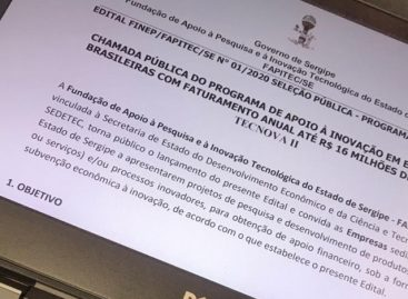 Governo lança edital de apoio às empresas inovadoras de Sergipe
