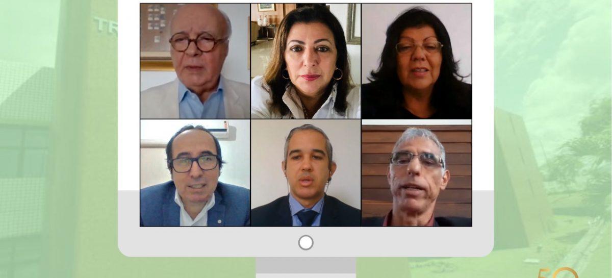 Conselheiros julgam 59 processos em sessão virtual da Primeira Câmara do TCE