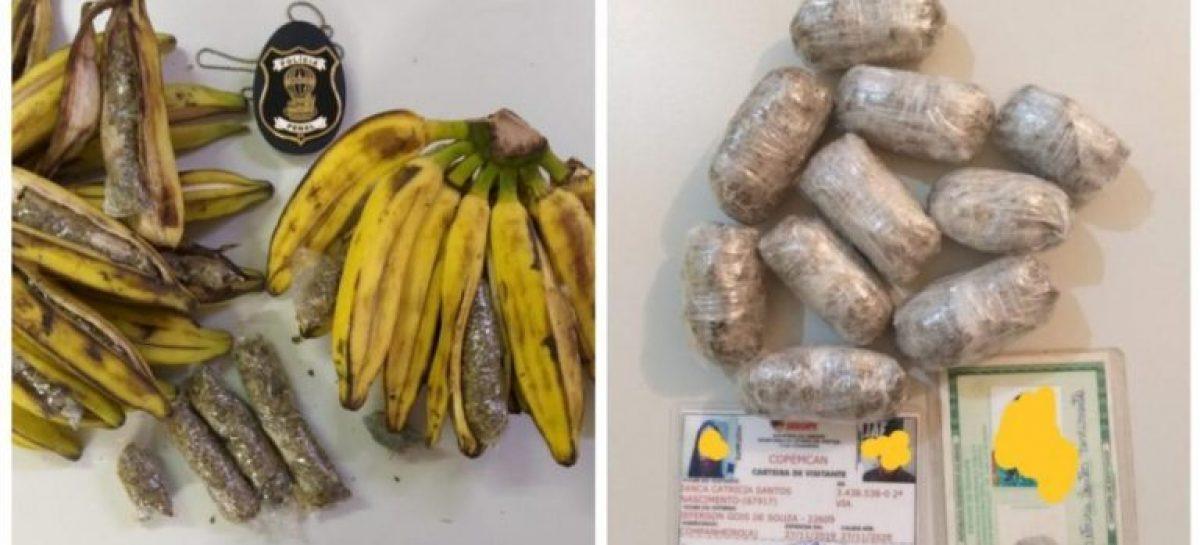 Duas mulheres são flagradas tentando entregar drogas escondidas em biscoitos e cascas de banana