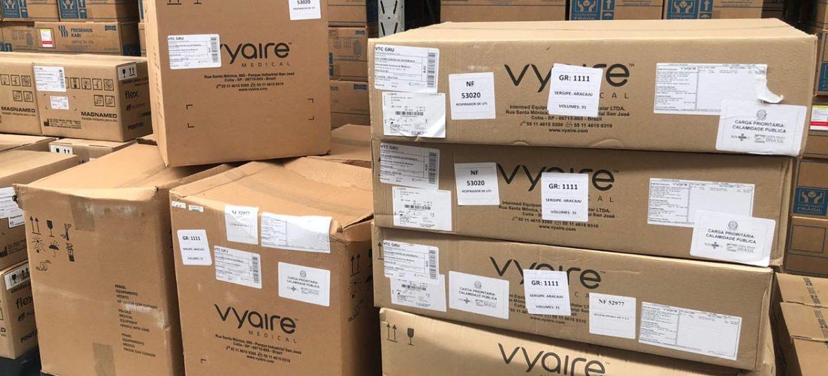 Governo de Sergipe recebe mais 26 respiradores, sendo 21 móveis e 5 fixos