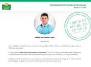 Prefeito de Itabaiana, Valmir de Francisquinho, recebe prêmio prefeito amigo da criança