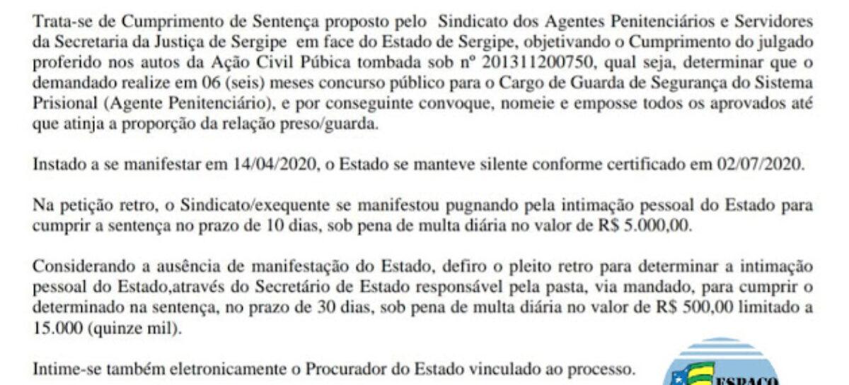 Juiz determina realização de concurso para o cargo de Guarda do Sistema Prisional