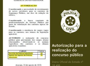 Governo de Sergipe publica autorização para Concurso Público da Polícia Civil