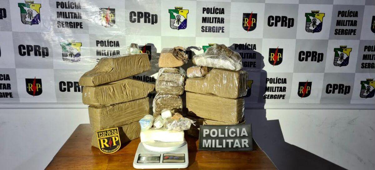 Radiopatrulha apreende 9,5 quilos de maconha e 400 gramas de cocaína