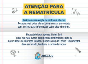 Alunos da rede municipal de ensino de Aracaju devem realizar a rematrícula este mês