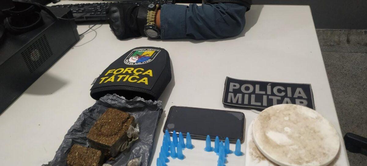 Tático prende indivíduo por tráfico de drogas no bairro Santa Maria