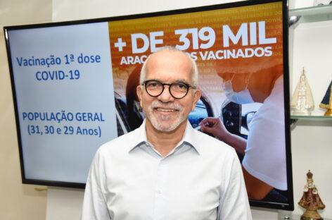Aracaju anuncia calendário de vacinação e inclui população de 29 a 31